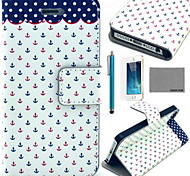 COCO FUN® Dots Anchor Pattern PU Leather Case with Screen Protector and USB Cable and Stylus for iPhone 5/5S