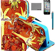 COCO FUN® Orange Elephant Pattern PU Leather Case with Screen Protector and USB Cable and Stylus for iPhone 4/4S