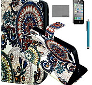 COCO FUN® Circle Floral Pattern PU Leather Case with Screen Protector and USB Cable and Stylus for iPhone 4/4S