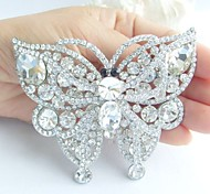 Gorgeous 3.74 Inch Silver-tone Clear Rhinestone Crystal Butterfly Brooch Pendant Bridal Bouquet Wedding Deco