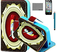 COCO FUN® Warrior Helmet Pattern PU Leather Case with Screen Protector and USB Cable and Stylus for iPhone 4/4S