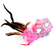 Women's Fancy Dress Party Leather Side Feather Flowers Mask