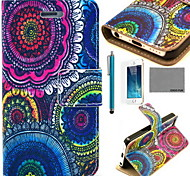 COCO FUN® Floral Tribal Pattern PU Leather Case with Screen Protector and USB Cable and Stylus for iPhone 5/5S