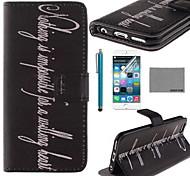 Coco fun® palavra padrão preto de couro pu caso de corpo inteiro com o filme e cabo usb e stylus para iphone 6 6g