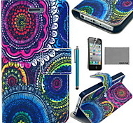 coco fun® bloemen tribale patroon pu lederen tas met screen protector en usb-kabel en stylus voor iPhone 4 / 4s