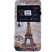 Eiffel Tower Pattern Pattern Window Clamshell PU Leather Case with Stand and Card Slot for Samsung Galaxy Note Series