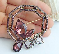 2.17 Inch Gold-tone Purple Rhinestone Crystal Spiderweb Flower Brooch Pendant Art Decorations