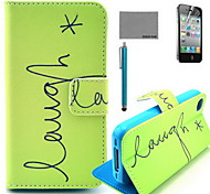 coco fun® groene engels patroon pu lederen tas met screen protector en usb-kabel en stylus voor iPhone 4 / 4s