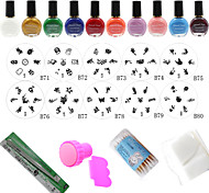 Fashion Designs Nail At Template Set,10PCS Nail Plates + 10 Colors Nail Stamp Polish +Stamper + Scraper