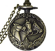 Fashion 3 Horse Pattern Vintage Alloy Quartz Analog Pocket Watch With Chains  (1 x LR626)