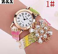 relógio de forma simplicidade de quartzo cristal de rocha pérola de pulso analógico de tecelagem das mulheres (cores sortidas)