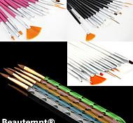 15PCS Acrylic Nail Art Design Painting Drawing Pen Brush(3 Color Choose)with 5PCS 5 Colors Sizes UV Gel Brush Set
