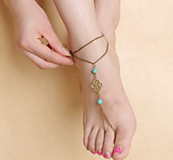 Fashion Women Yoga Dance Simple Turquoise Metal Hollow Pattern Pendant Anklets