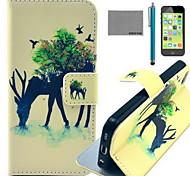 caso corpo Coco fun® padrão floresta girafa couro pu completo com filme e cabo usb e stylus para iphone 5c