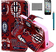 COCO FUN® UK Icon Pattern PU Leather Case with Screen Protector and USB Cable and Stylus for iPhone 4/4S