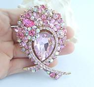 Gorgeous 3.35 Inch Gold-tone Pink Rhinestone Crystal Flower Brooch Pendant Art Deco
