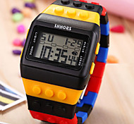 Toy Brick Style Digital Date Day Alarm Chronograph Backlight Unisex Plastic Sport Watch