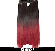 "Neitsi® 110g 22""Full Head 5clips Kanekalon Synthetic Hair Pieces Clip In/on Straight Extensions T-Red Wine#"
