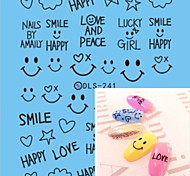 Water Transfer Printing Black Smiling Face Nail Stickers