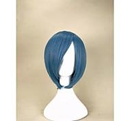 sem tampa nova à moda azul peruca sintética curta reta cabelo com estrondo lado peruca partido