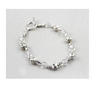 Textured Silver Diamond Beaded Bracelet(1 Piece)