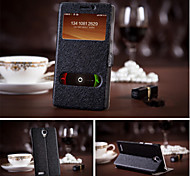 For Samsung Galaxy Case with Stand / with Windows Case Full Body Case Solid Color PU Leather Samsung S5