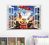 Cartoon Lego False Window PVC Wall Sticker Wall Decals
