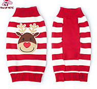 Cat / Dog Sweater Red Winter Stripe / Cartoon Christmas / New Year's