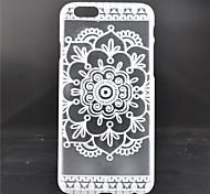 branco padrão de flor caso de telefone material do PC para o iPhone 6