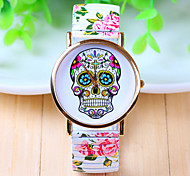 Unisex's Watch Color Skull Printed Strip Elastic Strap Watch
