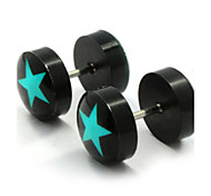 Stud Earrings Stainless Steel Acrylic Fashion Star White Green Jewelry Daily Casual Sports 2pcs