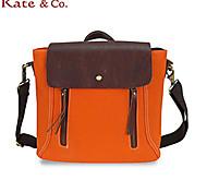 Kate & Co.® Women Cowhide / Canvas Shoulder Bag Pink / Orange / Brown - BC-00137