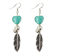 HUALUO® Super Cheap Korean Fashion Turquoise Feather Earrings