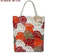 Kate & Co.® Women PVC / Canvas Shoulder Bag Orange - TH-02201