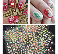 30PCS 3D Glitter Christmas Series Nail Stickers