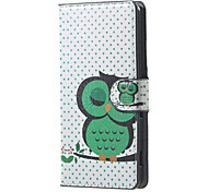 For Acer Z220 Cover Green Owl Pattern Leather Wallet Flip Stand Case Acer Liquid Z220 Cell Phone Cases