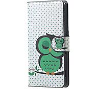 für Acer Z220 decken grüne Eulenmuster Leder Brieftasche Flip Standplatzfall Acer Liquid Z220 Handy-Fällen