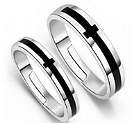 Black And White Cross Couple Rings 2pcs