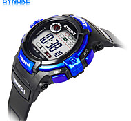 SYNOKE Men's Round Sports Watch LED Display PU Strap  Wrist Watch (Assorted Colors)