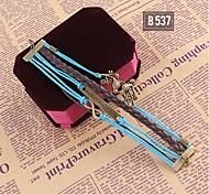 Blue Black Handmade Woven Bracelet Bangle Wristband Jewelry