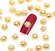 New 50PCS Gold Nail Art Jewelry Pinkie Snowflake Nail Decorations Alloy Rhinestone Aryclic Nails Nail Tips Decorations