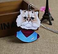 Serious Cat  Wood Necklace
