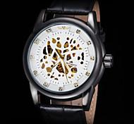 FORSINING Men's Gold Skeleton Auto Mechanical Leather Strap Watch