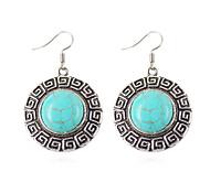 HUALUO® Super Cheap Hopping pattern Retro Tibetan Silver Turquoise Earrings