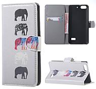 varios elefantes billetera de cuero flip stand de la cubierta del caso para el honor Huawei Mobile Phone Cases 4c cubiertas