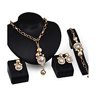 Schmuck 1 Paar Ohrringe 1 Armreif Halsketten Ringe Hochzeit Party Aleación 4 Stück Damen Goldfarben Hochzeitsgeschenke