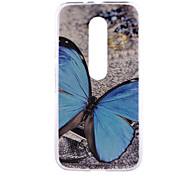 Blue Butterfly Pattern PC Hard Back Cover Case for Motorola MOTO G3 3rd Gen