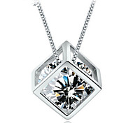 Woman Love Cube Pendant  Necklace