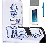 LEXY® Small Elephant Pattern PU Full Body Leather Case with Screen Protector and Stylus for iPhone 5/5S
