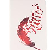 rote Feder-Muster PU-Leder Ganzkörper-Fall mit Standplatz und Kartensteckplatz für Galaxy Tab s2 8.0 T715 / Galaxy Tab s2 9.7t815